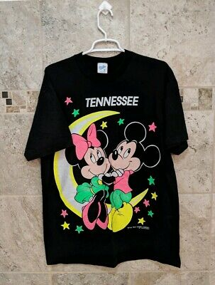 Vintage 80s NEON Tennessee MICKEY MINNIE MOUSE DISNEY VELVA SHEEN T SHIRT XL