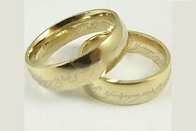 NEW Unisex Size 8 LORD OF THE RINGS Bilbo's Hobbit STAINLESS STEEL Gold Band
