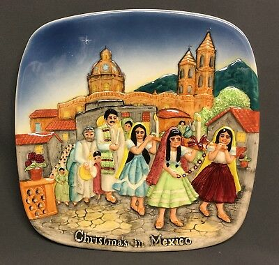 """Beswick Royal Doulton Group Christmas In Mexico 8 1/4"""" Plate  Made in England"""