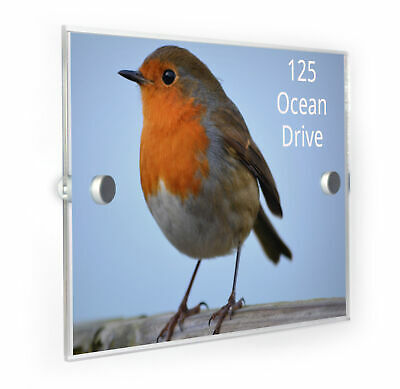 Robin Bird House Number Plaque Home Address Sign
