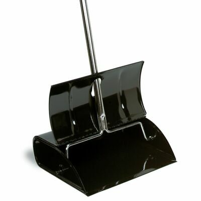 "Continental 808 Black Metal 12-1/2"" Lobby Dust Pan With Lid"