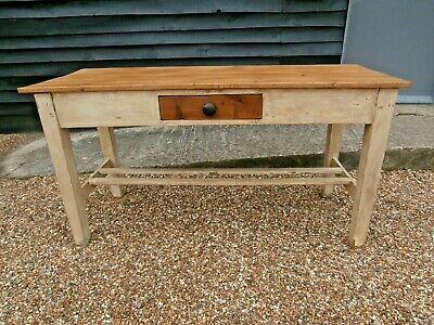 LOVELY 19th CENTURY PINE PAINTED DISTRESSED DINING KITCHEN TABLE FREE DELIVERY