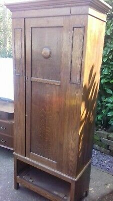 Old Oak Wardrobe / Hall Cupboard For Upcycle or Project Compact Size Solid Oak