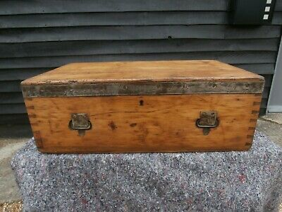 CHARACTERFUL 19th CENTURY PINE AMMUNITION CHEST BIBLE BOX TRUNK VICTORIAN