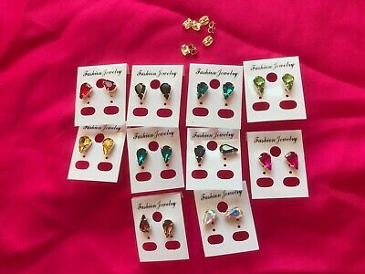 JOBLOT-10 pairs of pear shape diamante stud earrings.Silver plated.UK handmade.