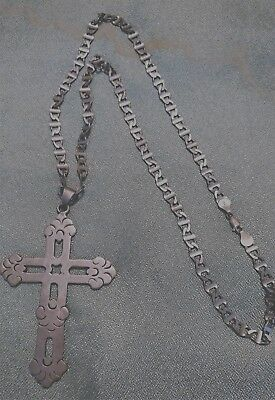 """Antique Sterling Silver 925 Cross Italian 24"""" Necklace, Handmade Chain Rare"""