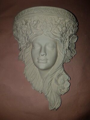 1 Art Deco Architectural Flower Ornate Plaster Corbel Bracket Shelf Wall Plaque