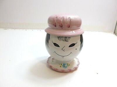 "Vintage Italian Pottery Bank Of A Girl With Pink Hat 7 1/2"" Tall Signed Italy"
