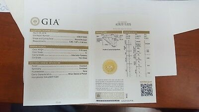 GIA Certificate 0.70ct Brilliant Excellent Diamond G Color and Flowless Clarity