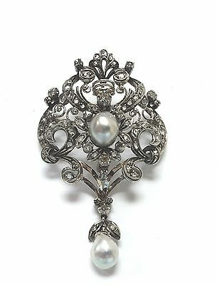 Antique Vintage 18k white Gold Pearls Pin Brooches Old Diamond Victorian Jewelry
