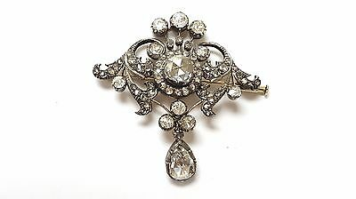 Antique Vintage14K Gold And Silver diamond Pin Brooches Old Victorian Jewelry