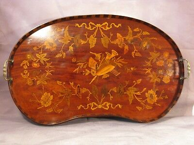 Antique English Victorian Kidney Butler Tray Mahogany Satinwood Inlay Musical