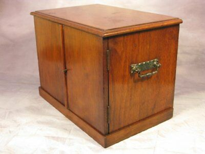 Antique Victorian Vintage Mahogany Three Draw Table Top Cabinet Box Safe C1895