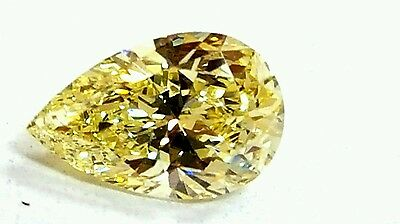 0.57ct Pear Shape Excellent Cut Diamond with Fancy yellow Color and VVS2 Clarity