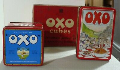 3 Vintage OXO tins Pie 75 years 1985 Classic  storage display collect
