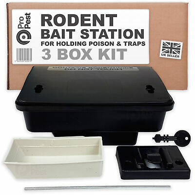 ProPest 3x Rodent External Bait Box Station Secure Safety for Rat & Mouse Poison