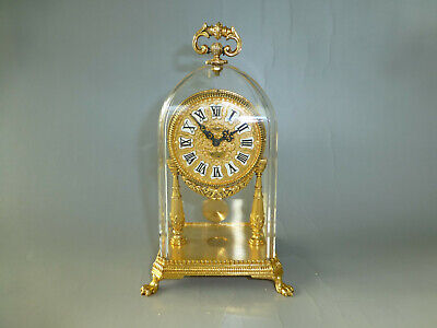 Antique German Gold Gilt Case Mechanical Carriage Swing Pendulum 8 Days Clock