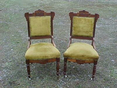 Pair Victorian Eastlake Side Chairs Carvings Burled Walnut Panels Nice Parlor