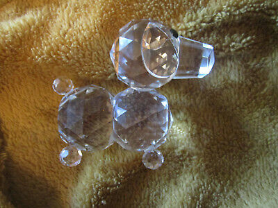 "Clear Glass Dog figurine paperweight 3.5"" tall black bead eyes collectible"