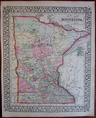 Minnesota state by itself 1867 Mitchell variant state map decorative border