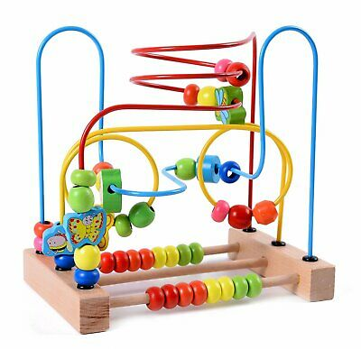 Wooden Baby First Bead Maze Circle Toddler Toys Coaster Roller Toy Kids Play New