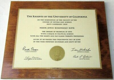 1967 University of California Bachelor of Arts Degree Mounted in Perma Plaque