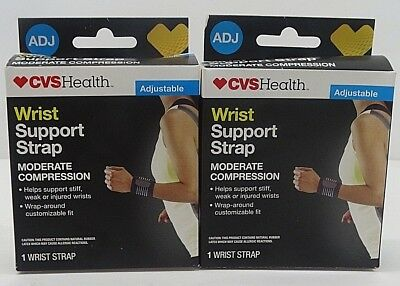 e012919124 2x CVS Health Adjustable Wrist Support Straps Moderate Compression FREE  SHIPPING