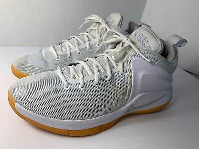 cheap for discount e8676 693a8 Nike LEBRON Zoom Witness White Pure-Platinum Gum(852439 103)Sz
