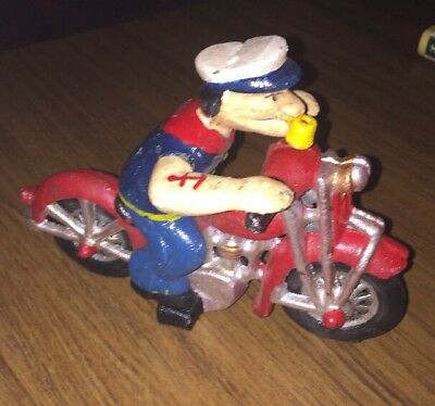 "Popeye Cast Iron Motorcycle Antique Style HUGE 4.25 Lbs! 8.25"" long f/g"