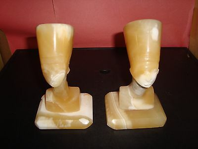 "Egyptian Alabaster Stone Hand Carved 5"" Tall Quantity 2 Egyptian Figure Ex Cond."