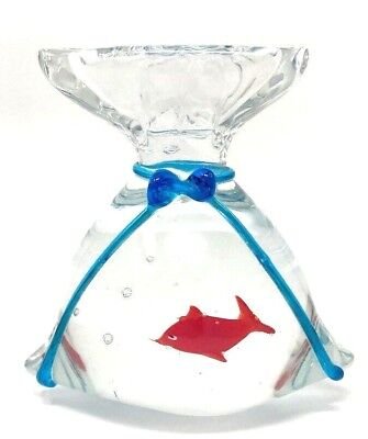 "Cute Goldfish in Bag 5"" Murano Style Art Glass PAPERWEIGHT 2lb. 5.7oz."