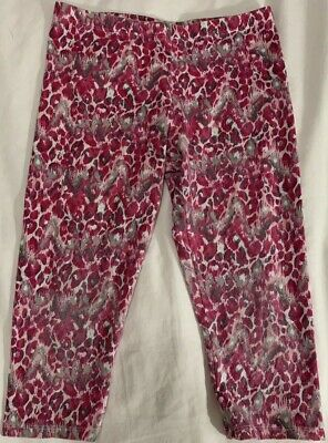 Faded Glory Girls Pink & Grey Leopard Print Cropped Leggings Size Medium (7/8)