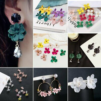 Bohemia Painting Flowers Droplet Tassel Ear Stud Earrings Jewelry For Women Gift