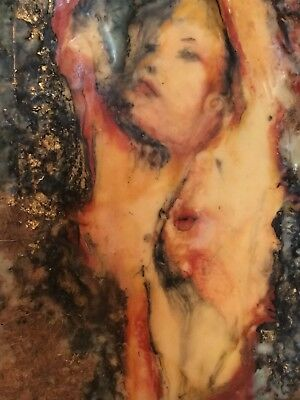 Nude painting in the Manner of Egon Schiele unsigned mixed media Surreal Wax