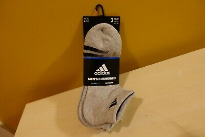Adidas Low Cut Mens Size 6-12 Socks 3 Pack Brand New Grey Climalite Compression