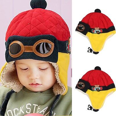 Winter Cap Red Pilot Aviator Style Warm Earflap Hat For Toddlers Boys Girls