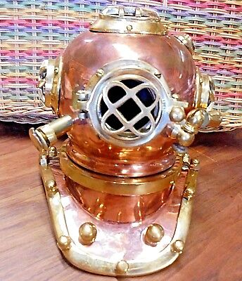 Vintage US Navy Mini Diving Divers Helmet Brass Copper Navy Mark V Gift Decor