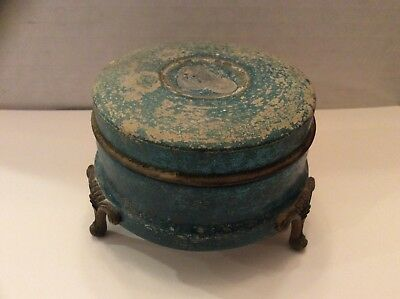 Vintage Art Deco Face Powder Box Metal Tin Blue With Gold Legs