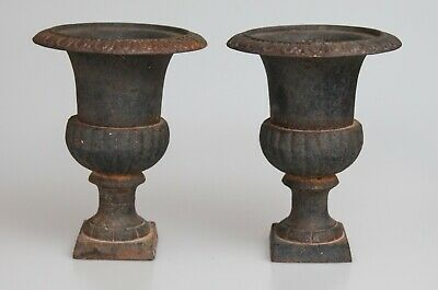 Pair Of Antique French Neoclassical Black Cast Iron Garden Urns Planters