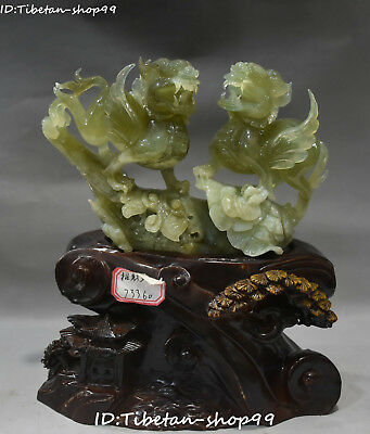 "10"" Natural Green Jade Carving Double PiXiu Guardian Beast Brave Troops Statue"