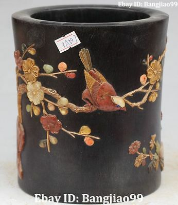 Chinese Rosewood Painting Plum Blossom Magpie Pen Container Pencil Vase Statue