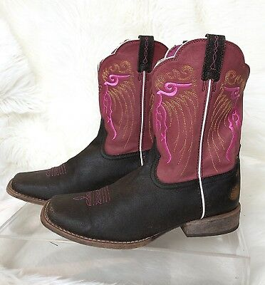 7ca72585632 ARIAT GIRLS FATBABY Brown Leather Western Roper Cowboy Boots Youth ...