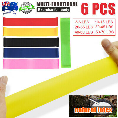 6x Elastic Resistance Bands Yoga Exercise Bodybuilding  Fitness lose Weight GYM