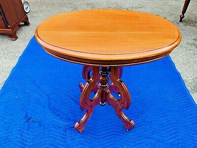 Beautiful Antique 1800's Carved Mahogany Victorian Eastlake Oval Side End Table
