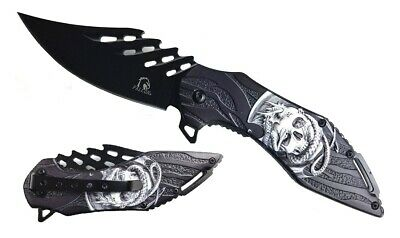 "Falcon 8"" 3D Dragon and Skull Design Spring Assisted Open Pocket Folding Knife"