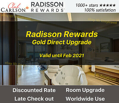 Club Carlson Radisson Rewards Gold Status Valid unitl Feb 2020