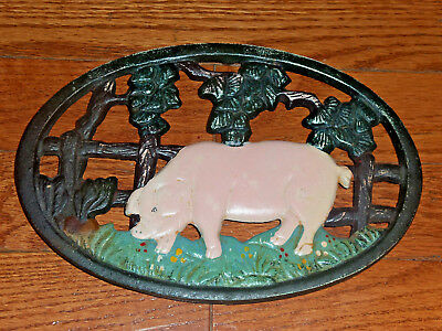 1940's Country Pig Art Trivet Hot Pot Kitchen Stand Decorative Iron Pan Holder