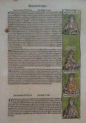 """Rare 2 sided 1493 Nuremburg Chronical Page w/hand coloring, 20"""" x 14 1/2"""""""