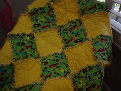 Baby Boy Rag Quilt ~Race Cars ~ Green & Yellow