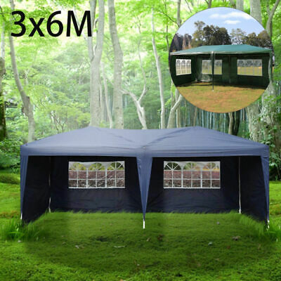 3X6M Garden Heavy Duty Waterproof Gazebo Marquee Party Tent W/4 Side Walls